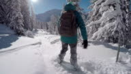 FOLLOW: Freeride snowboarder girl riding fresh powder snow in snowy mountains video