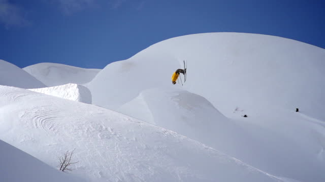 Freestyle skier performing a stunt video