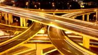 Freeway interchange, heavy traffic at night. video