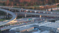 Freeway Traffic Time Lapse Sunset Pan Tilt Shift video
