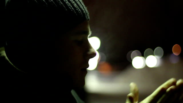 Freezing Teenager Waiting in Winter video
