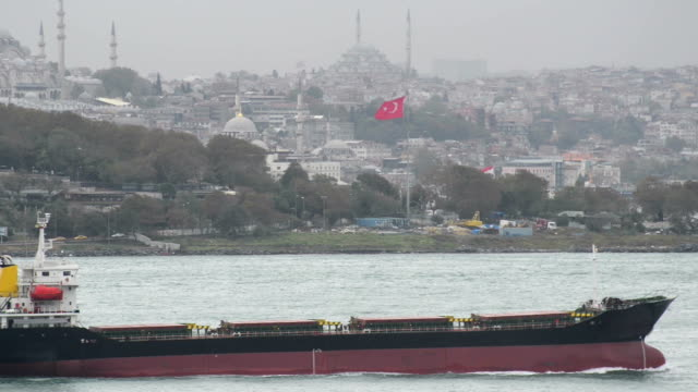Freight ship passing from Istanbul video
