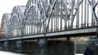HD - Freight train on a railway bridge video