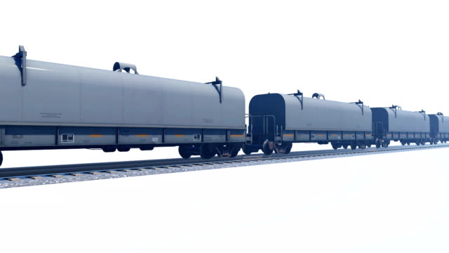 Freight train passing by on white background video