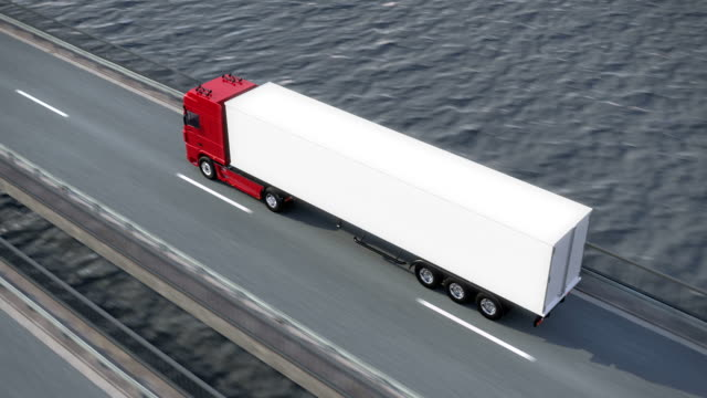 Freight Truck on bridge from above video