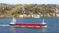 Freighter sailing into Bosphorus Sea video