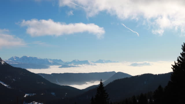 French Alps cloud sea time lapse 4K (Col de la Porte) video