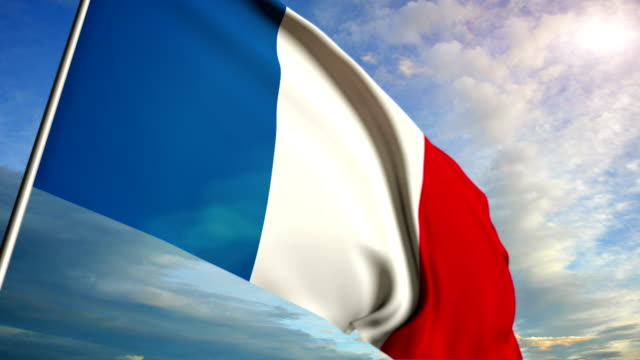 French flag floating on sunset sky background video