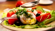 French national meal : Poached egg with salad and olive oil video