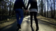 French pair couple walk in park holding hand in hand. video