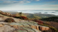 Frenchman Bay from Cadillac Mountain sunrise, Acadia (pan) video