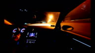 A frenetic blast through the streets. Driving in the night and light speed video