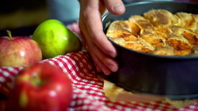 Fresh apples and freshly baked apple cake. Baked cake video
