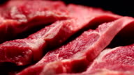 Fresh beef meat close up video