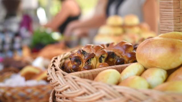 Fresh bread at markets video