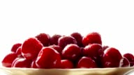 Fresh cherries in bowl video