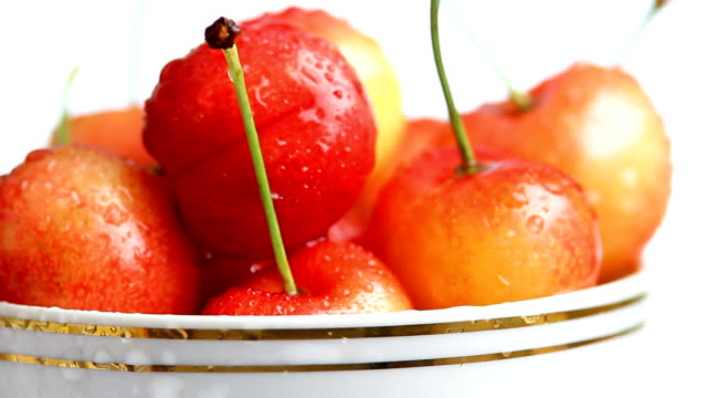 Fresh cherry in cup video