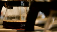 Fresh coffee dripping into pot video