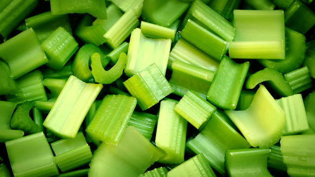 Fresh Cut Celery Pieces Rotating video