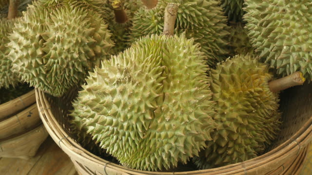 Fresh Durian in the Market, Tropical fruit, Thailand video