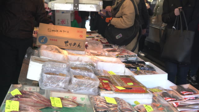 Fresh Fish processing at Tsukiji Fish Market video
