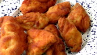 Fresh fried chicken on plate video