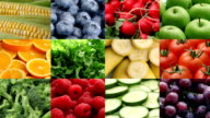 Fresh fruits and vegetables, video montage video