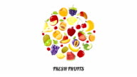 Fresh fruits circle animation. Fruits appear on white video