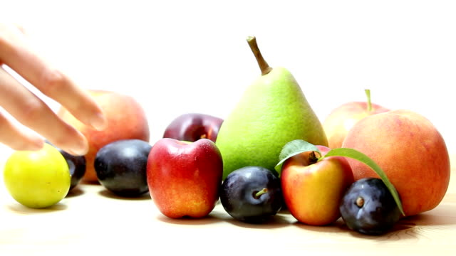Fresh fruits on the white background. video