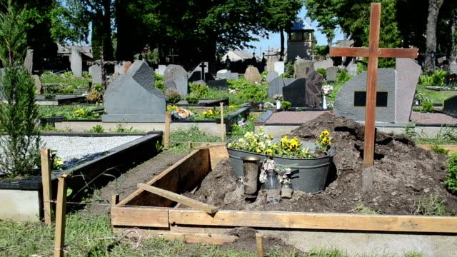 fresh grave cemetery soil video