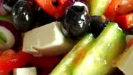 Fresh Greek salad macro dolly shot video