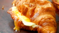 Fresh ham and cheese croissant video