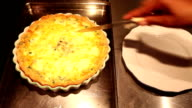 Fresh Home-made Mushroom And Spinach Quiche Cut video