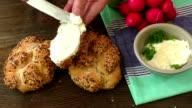 Fresh mascarpone cheese and crunchy bread video