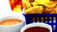Fresh Mexican salsa and tortilla chips video