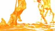 Fresh orange juice flow with Super slow motion. video