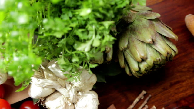 Fresh, organic food variety,on a wooden table video