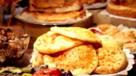 Fresh pancakes in storefront. video
