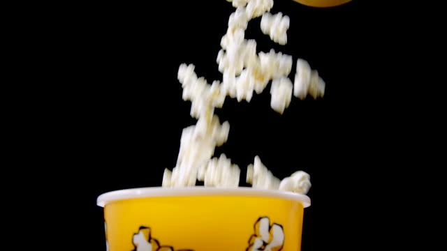 Fresh Popcorn Falling Into Box video
