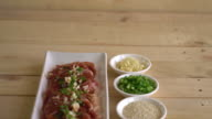 fresh pork sliced with ingredients video