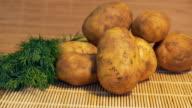 Fresh Potatoes on Table video