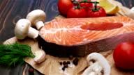 Fresh Raw Salmon Red Fish Steak video