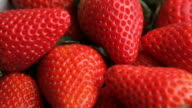 Fresh ripe strawberries, closeup video