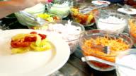 Fresh salad in restaurant video