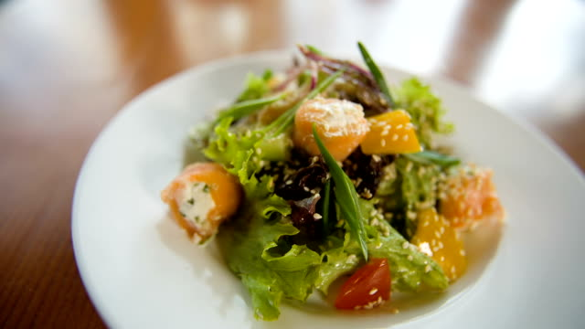 Fresh salad with fish video