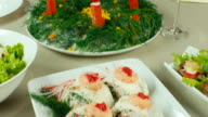 Fresh seaweed salad with crab sticks video