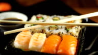 Fresh Sushi Assortment, Close-up on Turntable video