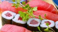 Fresh Sushi dolly shot video
