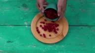 Fresh sweet summer raspberry in  wooden plate video