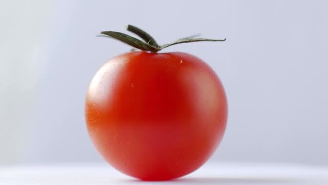 Fresh tomato rotation on white background video